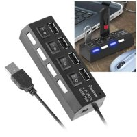 Insten 4-Port USB 2.0 Hub with Individual On Off Power Switches and LEDs Multiple Usb Hub Adapter