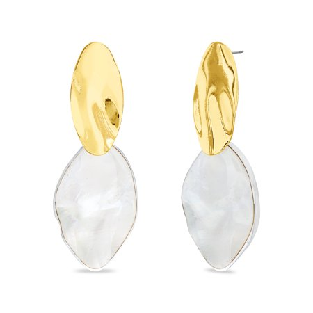 Womens Gold and Ivory Dangle Geo Hammered Oval Post Earrings Hammered Gold Oval Earrings