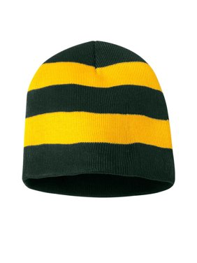 Knit Winter Rugby Striped Beanie Hats for Men & Women - Stay Warm & Stylish (Black/ Gold)