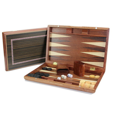 "13"" Classic Board Game Backgammon Brown Wooden Portable Travel Folding Case Set"
