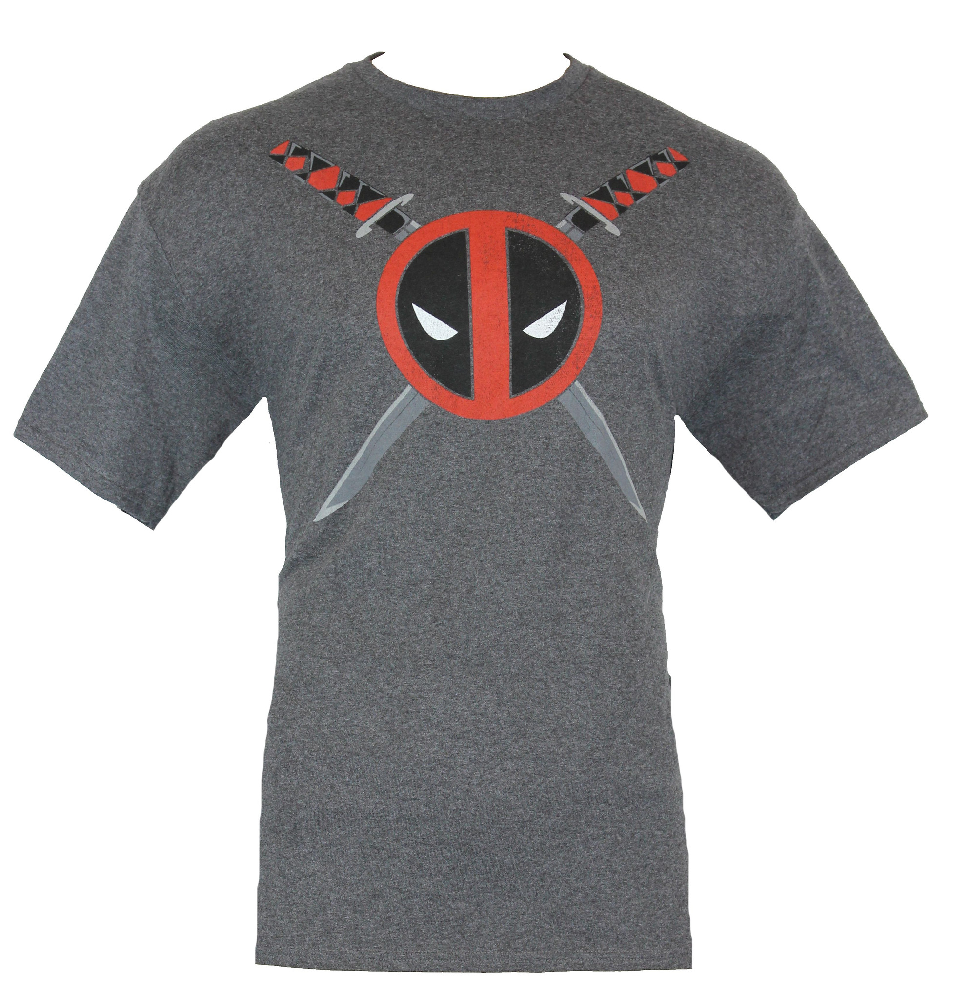 Deadpool (Marvel Comics) Mens T-Shirt - Classic Logo In Front of Crossed Swords