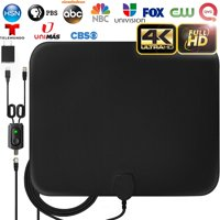 TV Antenna, 2019 Upgraded Amplified HD Digital TV Indoor Antenna Long 50 Miles Range, 4K 1080P HD VHF UHF for Local Channels, Ultra Thin Antenna