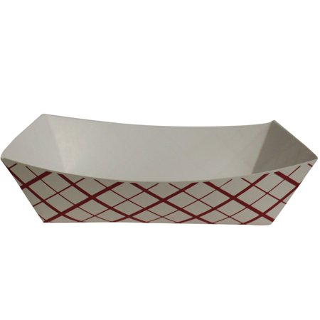 Catering Serving Trays - SouthLand RP50, 0.5-Lbs White Paper Food Trays, Disposable Serving Dishes, Take Out Striped Catering Platters (50)
