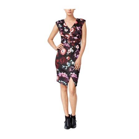 bar III Womens Floral Print Envelope Sheath Dress blackcombo XS - image 1 of 1