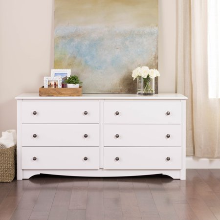 Prepac Monterey 6-Drawer Dresser, White (Rainbow 8 Drawer Rolling Chest By Recollections)