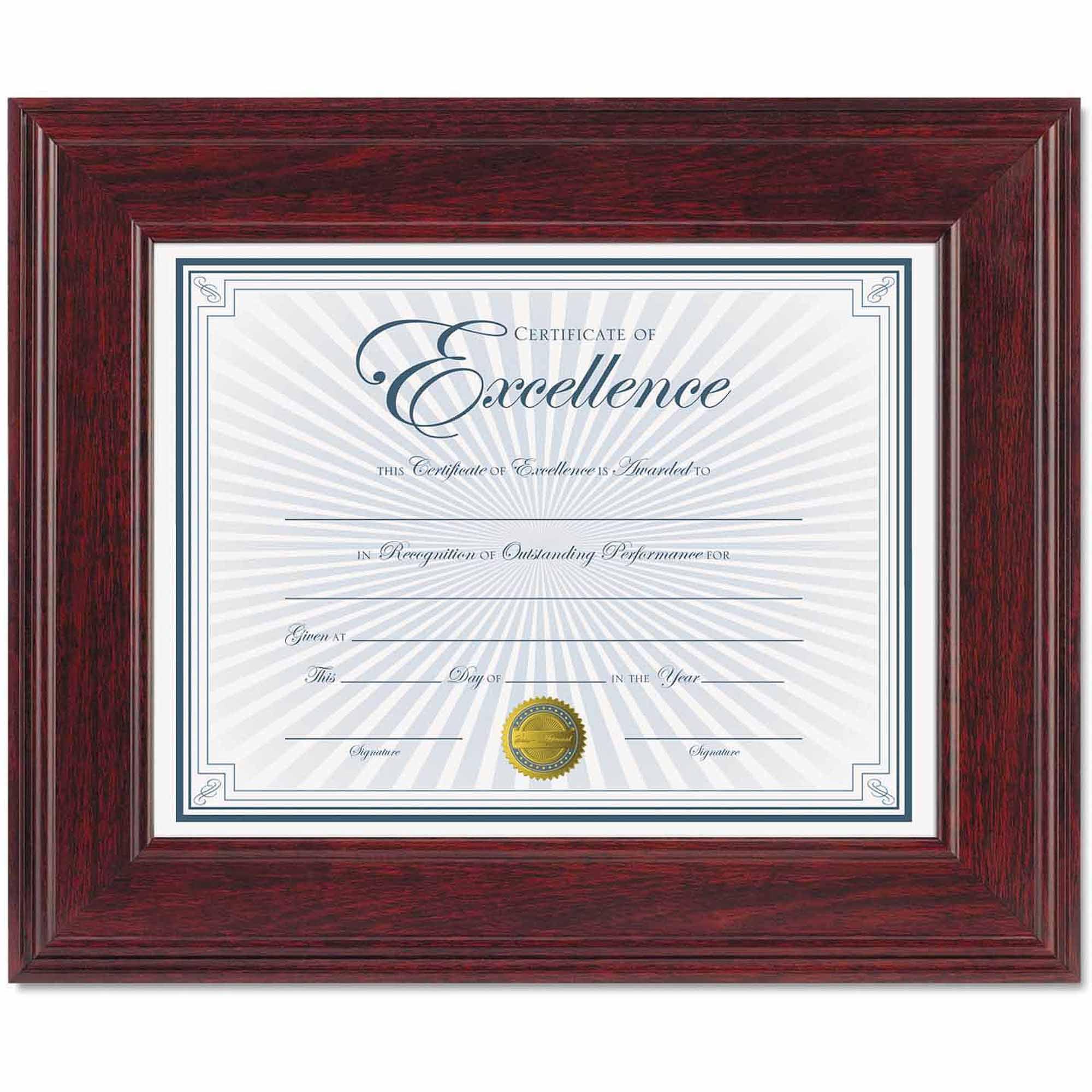 "DAX Executive Document/Photo Frame, Desk/Wall Mount, Wood, 8-1/2"" x 11"", Mahogany"