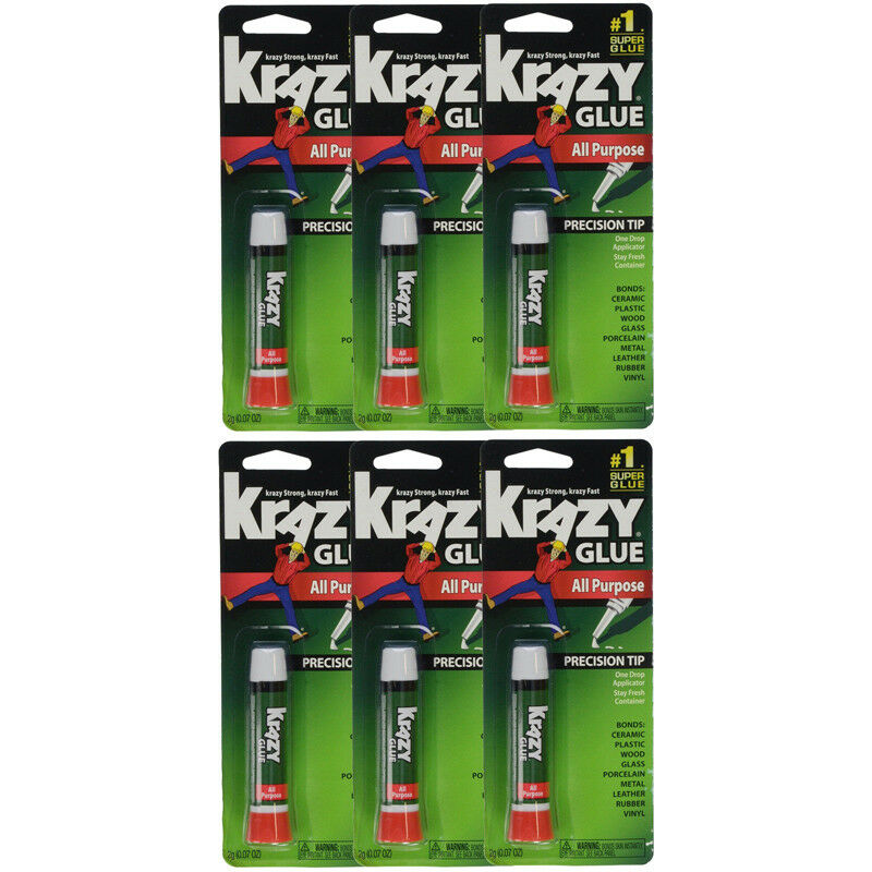 6 Pack Krazy Glue Instant Strong Fast Drying All Purpose Glue, .07 oz