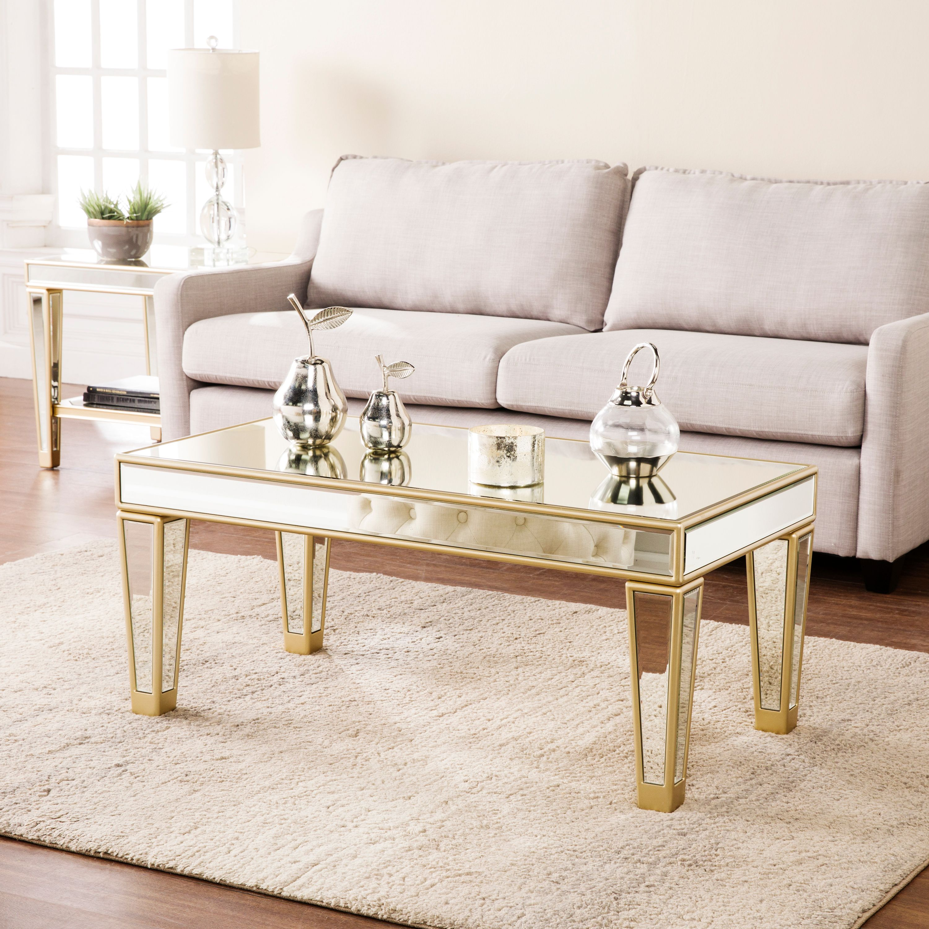 Southern Enterprises Marillo Mirrored Cocktail Table, Glam Style, Metallic Champagne