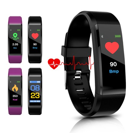 AGPtek Waterproof Fitness Tracker Heart Rate Monitor Bluetooth Wireless Smart Wristwatch for Android and IOS