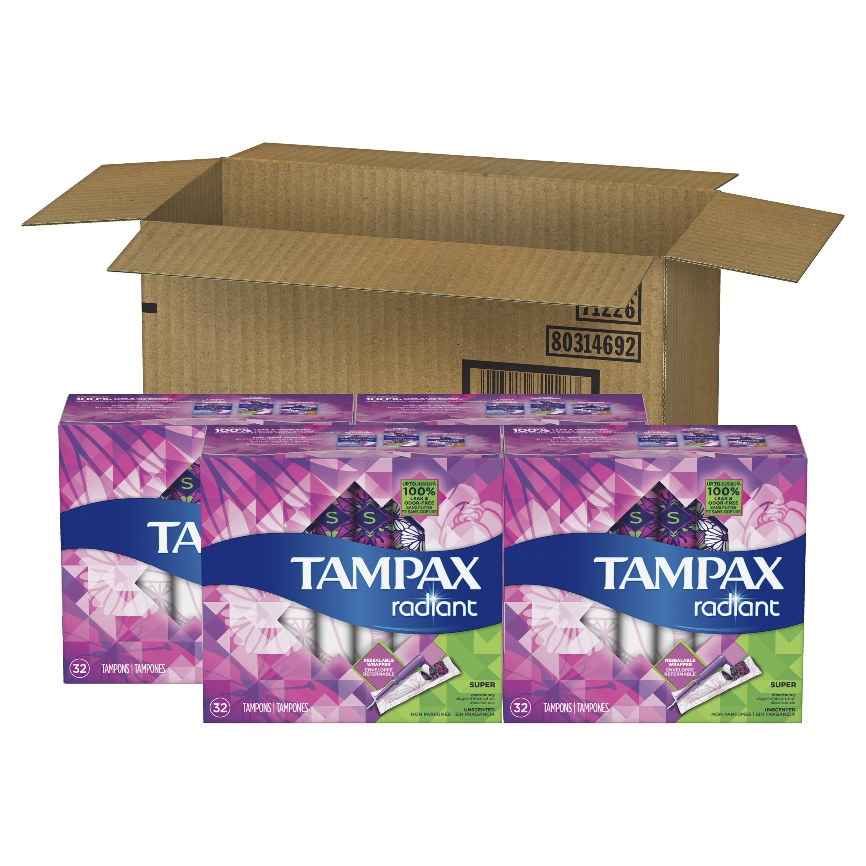 Tampax Radiant Super Plastic Tampons, Unscented, 128 Count
