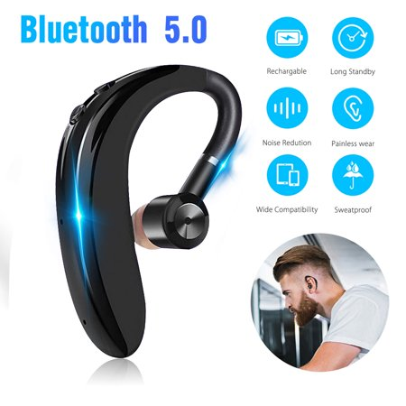 Bluetooth Headset, Wireless Earpiece Bluetooth 5.0 for Cell Phones, In-Ear Piece Hands Free Earbuds Headphone w/ Mic, Noise Cancelling for Driving, Compatible w/ iPhone Samsung covid 19 (Blue Earbud Headset coronavirus)
