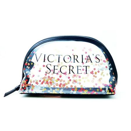 Victoria's Secret Clear Confetti Plastic Cosmetic Bag with Zipper