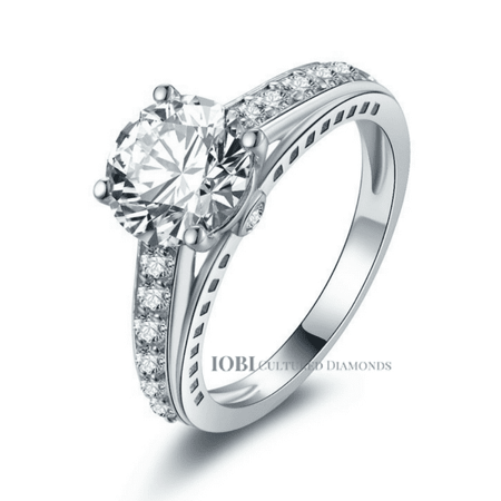 - ON SALE - Daphne 2CT Solitaire Surprise Detail Cathedral IOBI Simulated Diamond Ring 10.75