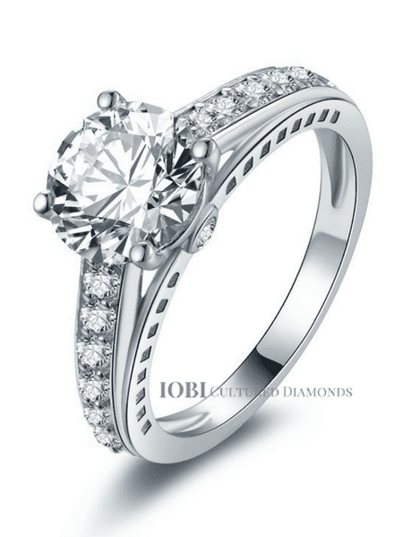 ON SALE - Daphne 2CT Solitaire Surprise Detail Cathedral IOBI Simulated Diamond Ring 10.75