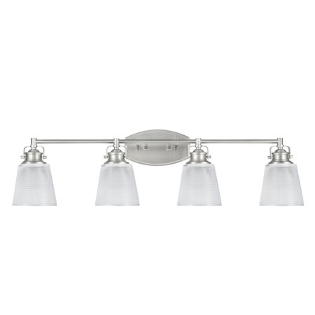 """Aspen Creative 62088, Four-Light Metal Bathroom Vanity Wall Light Fixture, 33 1/2"""" Wide, Transitional Design in Brushed Nickel with Clear Glass Shade"""