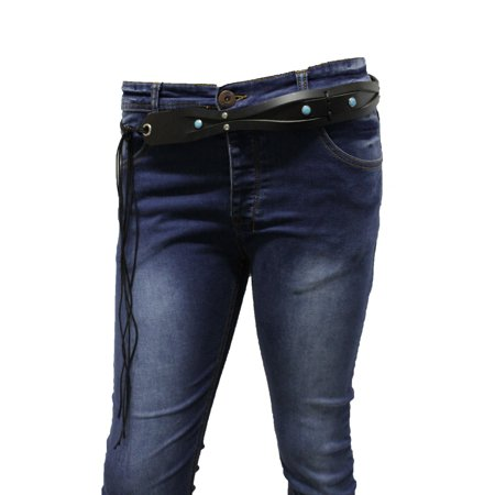 Women Western Tie Belt Waist Hip Black Faux Leather Turquoise Blue Beads M L XL Turquoise Beaded Belt