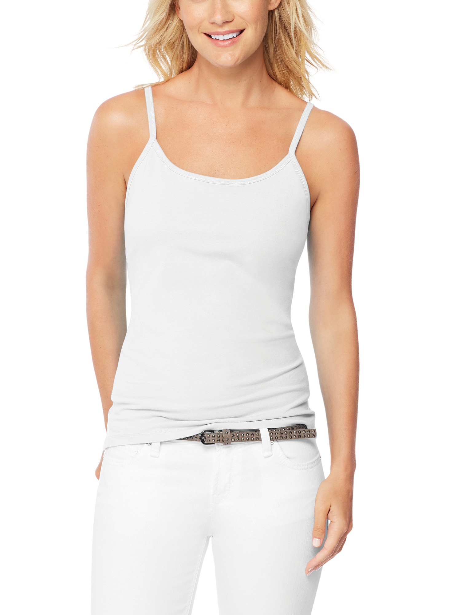 Women's Stretch Cotton Cami with Built-In Shelf Bra