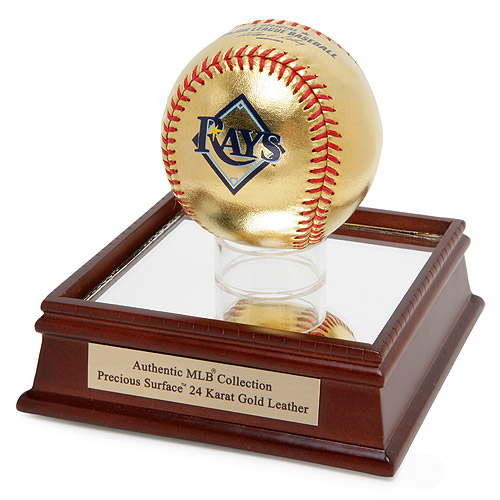 Tampa Bay Rays Rawlings 24KT Gold Baseball in Glass Case - No Size