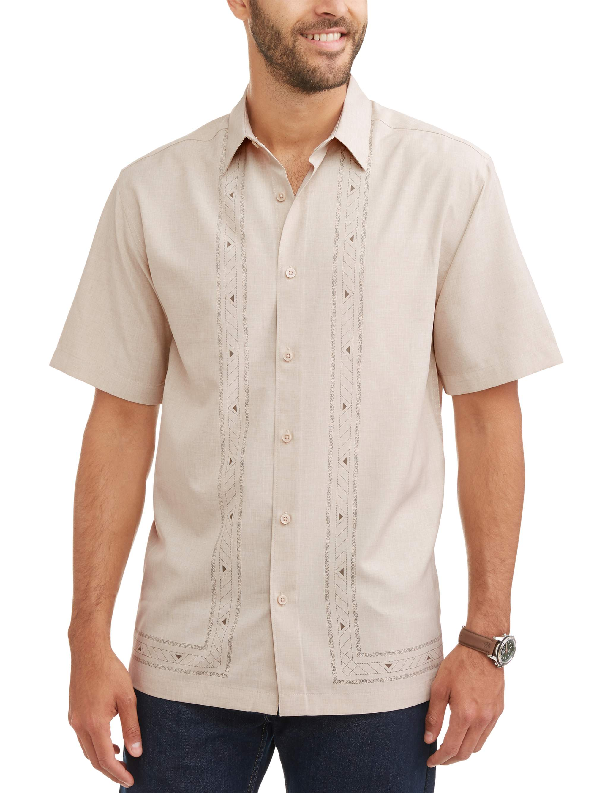 Men's Short Sleeve L Shape Panel Woven Shirt