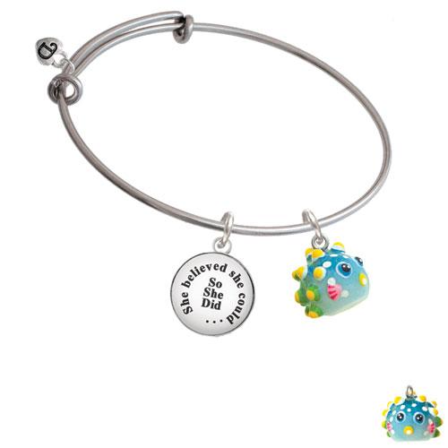 Resin Blowfish She Believed She Could Bangle Bracelet