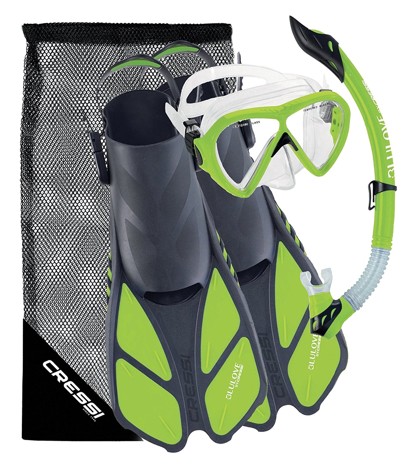 Cressi Bonete Bag Light Weight Travel Fun Snorkeling Set, Lime Green, Small   Medium by Cressi
