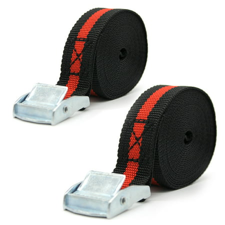 2pcs 8 FT Porable Heavy Duty Tie Down Cargo Strap Luggage Lashing Strong Ratchet Strap (Best Tie Down Systems)