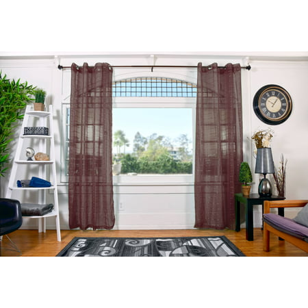 All American Collection New High Quality Plaid 2 Panel Sheer Curtain with Grommet 110