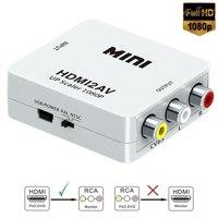 HDMI to RCA,HDMI to AV, 1080P HDMI to 3RCA CVBS AV Composite Video Audio Converter Adapter Supports PAL/NTSC with USB Charge Cable for PC Laptop HDTV DVD-Black