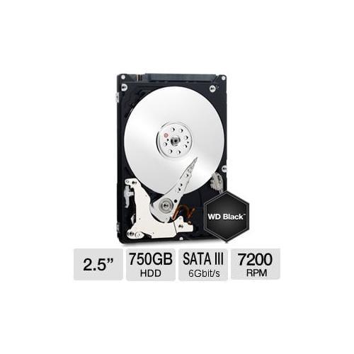 "WD Black 750 GB Mobile Hard Drive - 2.5"", Sata 6 Gb/s, 7200RPM, OEM Package - WD7500BPKX"