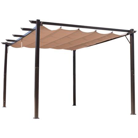 Outsunny 10' x 13' Aluminium Outsunny 10' x 13' Steel Outdoor Pergola Gazebo Backyard Canopy Cover Outsunny 10' x 13' Steel Outdoor Pergola Gazebo Backyard Canopy Cover Sturdy Garden - Brown