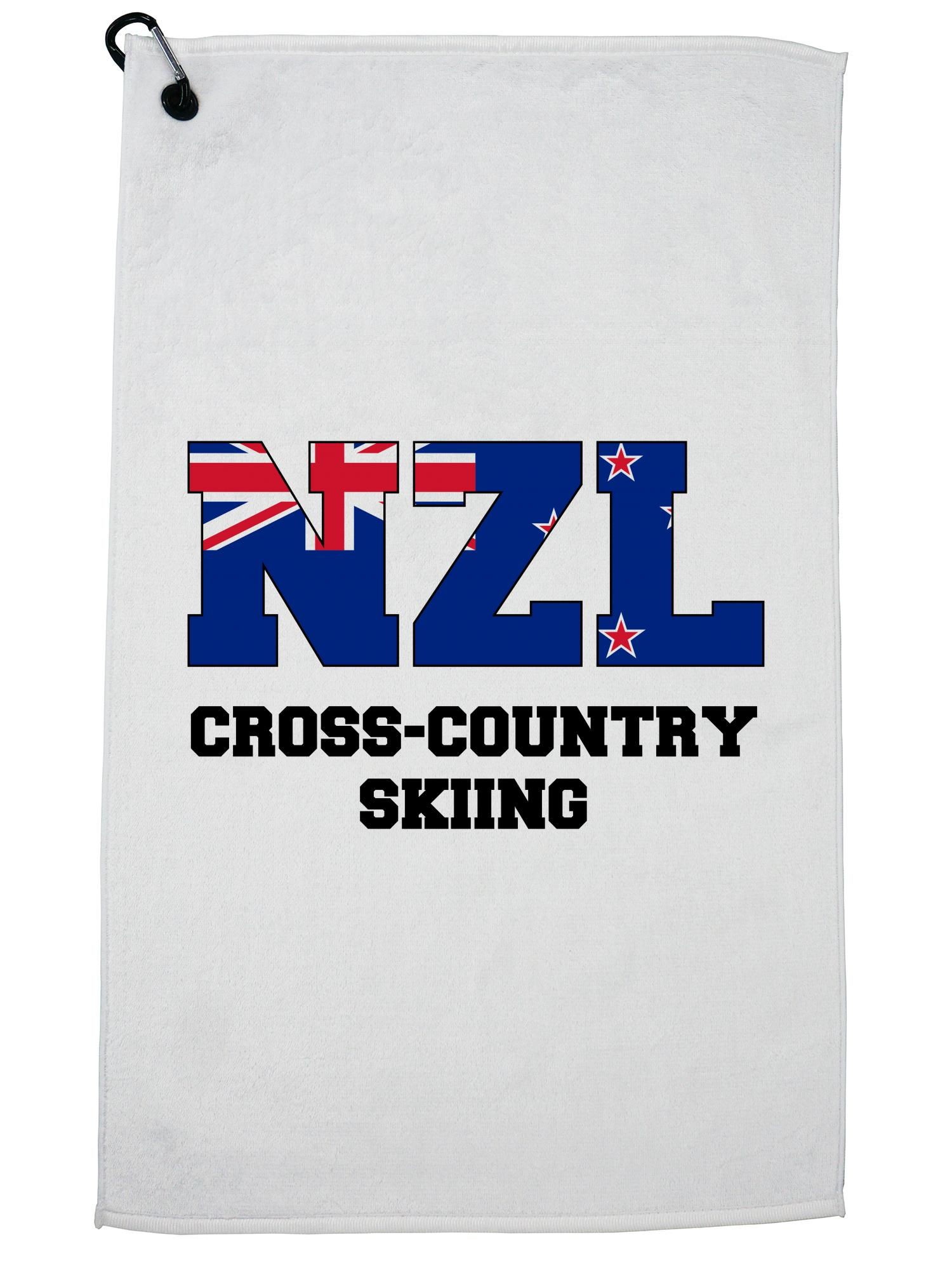Kiwis Cross-Country Skiing Winter Olympic NZL Flag Golf Towel with Carabiner Clip by Hollywood Thread