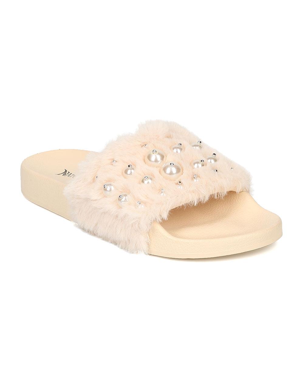 Women/'s Rhinestone Slides Open Toe Slip On Sandal Fluff-14 By Nature Breeze