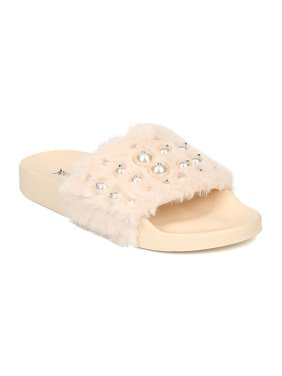 New Women Nature Breeze Fluff-08 Faux Fur Open Toe Faux Pearl Footbed Slide