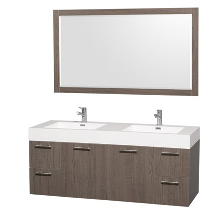 Amare Wall - Wyndham Collection Amare 60 inch Double Bathroom Vanity in Gray Oak with Acrylic Resin Top, Integrated Sinks, and 58 inch Mirror