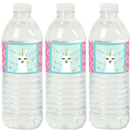 Whole Llama Fun - Llama Fiesta Baby Shower or Birthday Party Water Bottle Sticker Labels - Set of - Llama Party