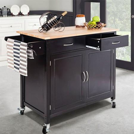 Costway Rolling Kitchen Cart Island Wood Top Storage Trolley Cabinet Utility Modern