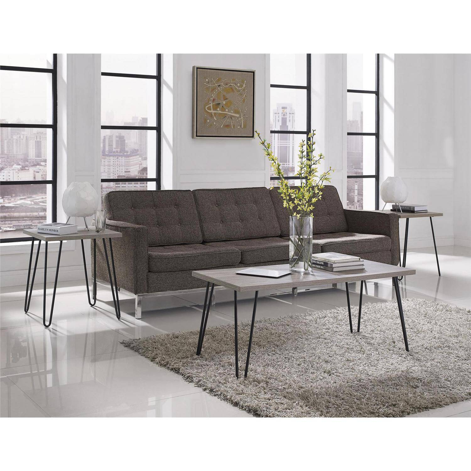 Superbe Ameriwood Home Owen Retro Coffee Table, Distressed Gray Oak/Gunmetal Gray    Walmart.com
