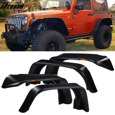 Fits 07-17 Jeep Wrangler JK Flat Style LED Fender Flares 4PC Unpainted