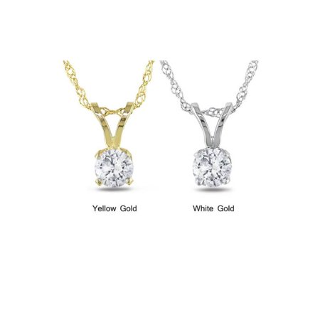 .65 Ct Diamond Solitaire Pendant Available in 14k White or Yellow Gold