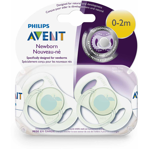 Philips Avent Orthodontic Pacifier, 0-2 Months, Newborn, 2-Pack, BPA-Free
