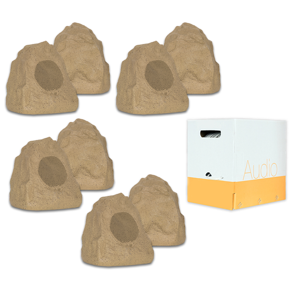 Theater Solutions 8R4S Outdoor Sandstone Rock 8 Speaker Set with Wire for Deck Pool Spa Patio Garden