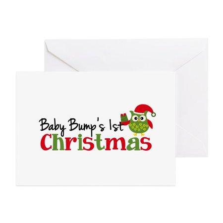 CafePress - Baby Bump's 1St Christmas Owl - Greeting Card, Blank Inside Glossy ()