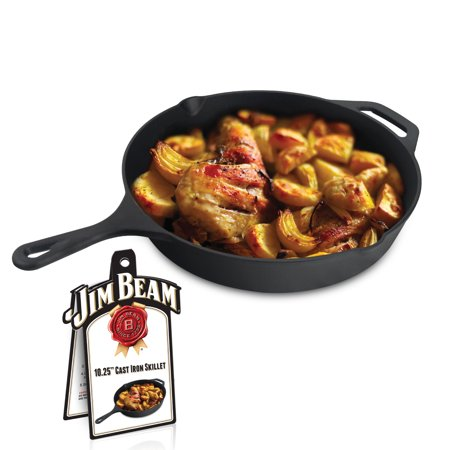 Jim Beam 10 25 Pre Seasoned Cast Iron Round Skillet For Grilling And Barbecue