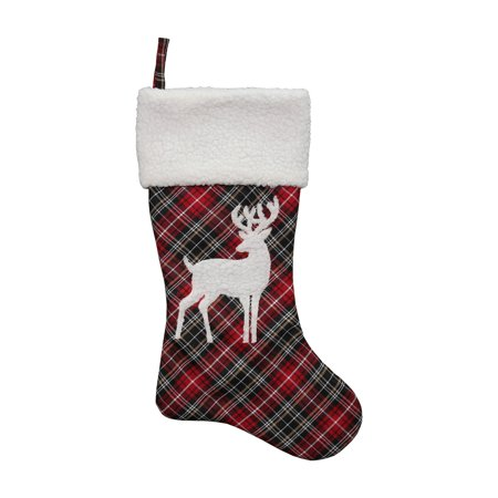 Dyno Plaid Deer Christmas Stocking](Pet Christmas Stockings)