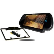 Tadibrothers 7 Inch Mirror with CCD Black License Plate Frame Backup Camera