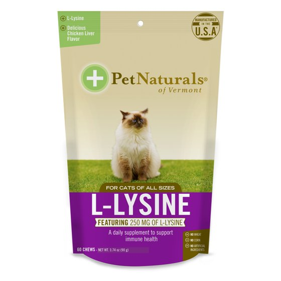 Pet Naturals of Vermont L-Lysine Chews for Cats, Immune and Respiratory  Support Supplement, 60 Bite-Sized Chews