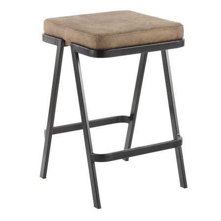 Seven Industrial Counter Stool in Black Metal and Brown Cowboy Fabric by (Ronbow Stone Counter)