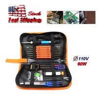 Iuhan 60W Adjustable Electric Temperature Welding Soldering Iron Tool 8 In 1 Kit 110V