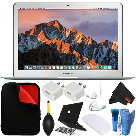Apple 13.3 Inch MacBook Air Laptop (New 2017 Version MQD32LL/A) 128GB - Bundle with Black Hard Case and Keyboard Cover + White Corded Earbuds, Laptop Case + Screen Cleaner +
