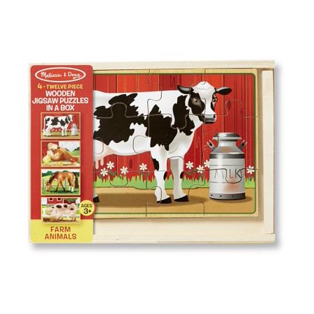 Melissa & Doug Farm 4-in-1 Wooden Jigsaw Puzzles in a Storage Box (48 pcs (Dog Puzzle Box)